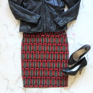 NWT Cassie Black Red Feather Leaf Pencil Skirt